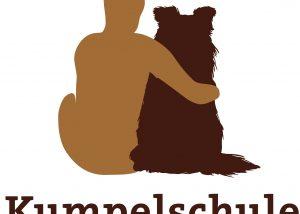 Logo für die Kumpelschule, Mensch sitzt mit seinem Hund